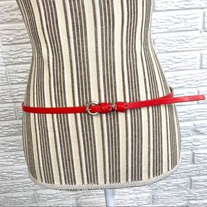 5/$25 Thin Red Faux Leather Belt Silver Buckle